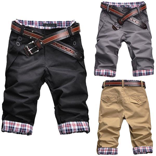 New Korean Mens Casual Shorts Plaid Rolled-up Bottom Pants Trousers M L XL XXL A1590