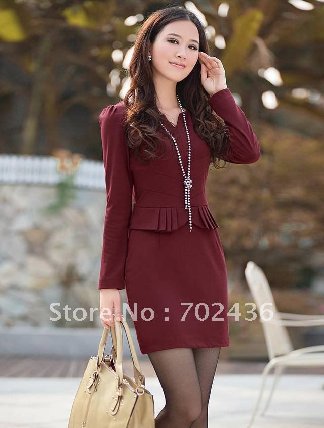 New Lady Women's Simplicity Long Sleeves Bodycon Sheath Dress