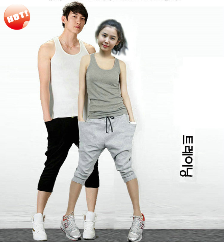 NEW Men Women Harem Baggy Hip Hop Dance Capri Tapered Shorts Sport Pants Sweatpant Slacks Trousers Sweatpants Joggers Free Ship