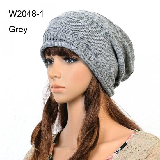 NEW Mens Winter Hats Crochet Slouchy Grey Beanies Womens Crochet Beanie Cap Slouch Women Baggy Rolled Fringe Oversized Knit Caps