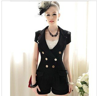 New pink big doll classic black fashion handsome lapel conjoined twins pants show thin women's 6060 cultivate one's morality