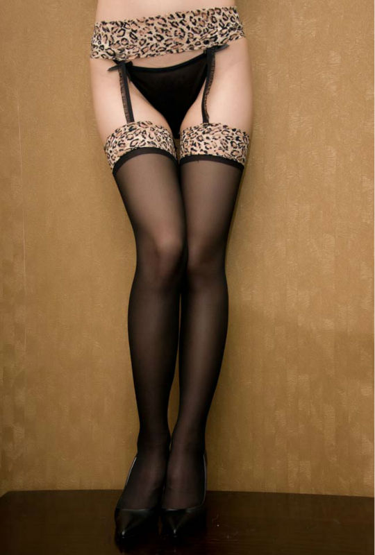 New sexy woman's black sheer  leopard print stockings with garter pantyhose free shipping #21144