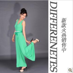 New significant thin high-grade green chiffon wide leg pants jumpsuit