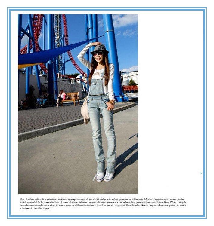 New spring denim overalls, feet Slim suspenders jeans pants-G111