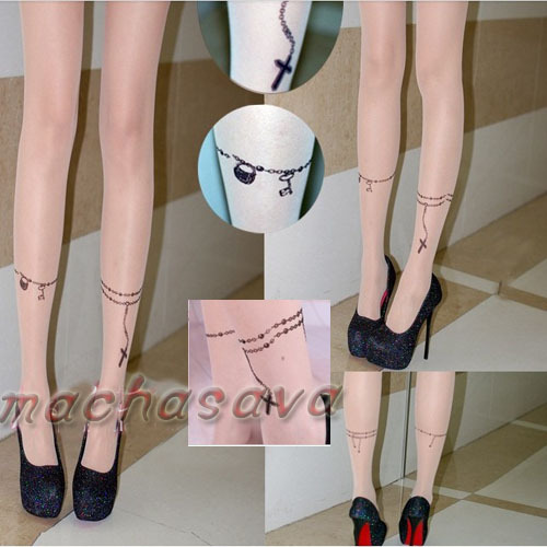 New Style Beauty Cross Chain Transparent Tattoo Tights Leggings Stockings Pantyhose