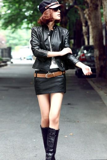 New Style Hot Shorts Skirts Fashion Pocket Black Washed PU Leather Autumn and Winter SL12113003