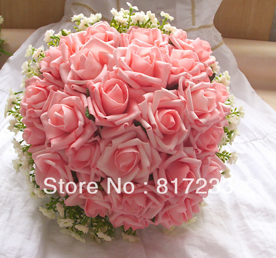 New Style Pink  Bouquet Foam Rose Bridal Wedding Bouquet With Ribbon Wedding Bouquet