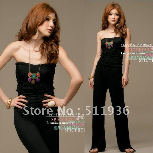 New Style Vogue Women Strapless Jumpsuit Romper Wide-leg Trouser Pants  Black Lady Long Pants #C51804
