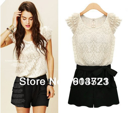 New Summer Dress High End Women Lace Tops Jumpsuit Lady Casual Leotard Women Clothing 8043