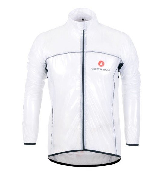 New  White Castelli Raincoat Cycling waterproof  transparent Jacket