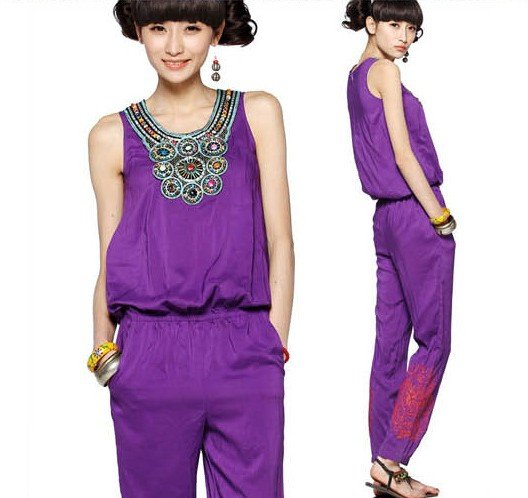 New Wholesale Korean 2012 Embroidery Vintage Jumpsuits Women fashion casual summer trousers Free shipping