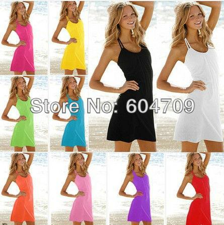New Women Halter Skirt Summer Beach Dress Bikini Cover Up Swimwear Tank Top Vest Free Shipping 11 colors