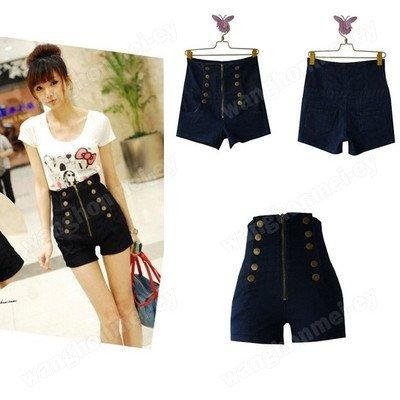 New Women's Double Breasted Zipper Vintage High Waist Shorts Jeans Pants