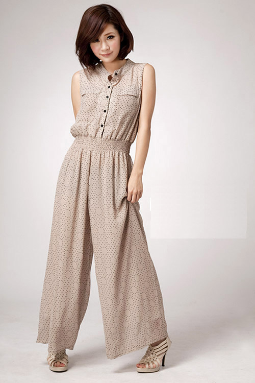 New!!Women's Fashion Standing collar Polka dots Chiffon Jumpsuits,Ladies' wide leg Overalls,Freeshipping