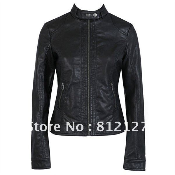 New Women's Jacket PU Leather High Quality Black Motorcycle Coat S M L XL XXL XXXL