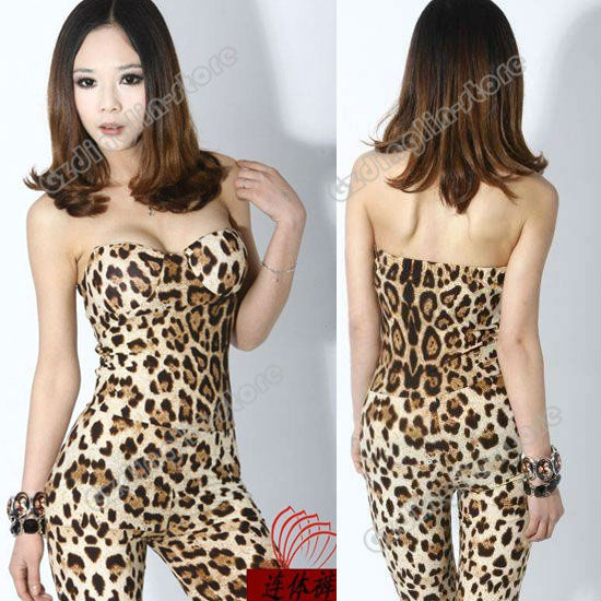 New Women's Off Shoulder Backless Sexy Leopard Clubwear Party Skinny Wrapped Chest Jumpsuit Romper Size S Free Shipping 0593