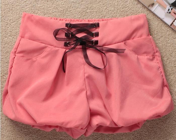 New women's short KuQun leisure fashion waist is reasonable ribbon waist render baggies