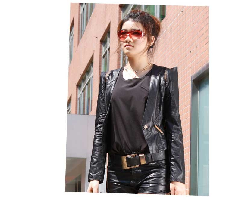 NEW Womens Casual Stylish Slim-fit Short Leather Jacket Coat free shipping