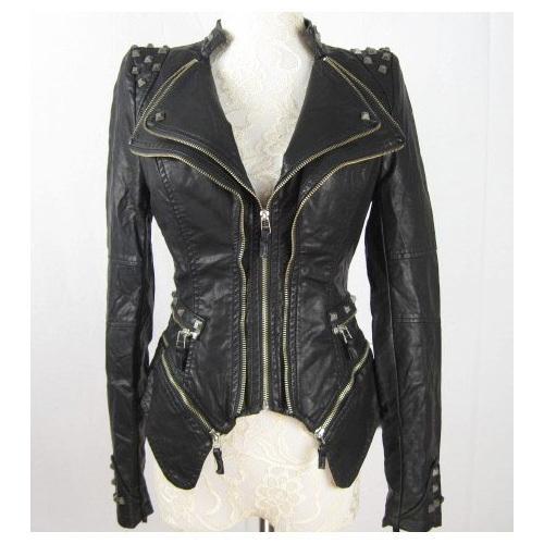 New Womens Punk Spike Studded Shoulder PU Leather Jacket Zipper Coat Size s XL