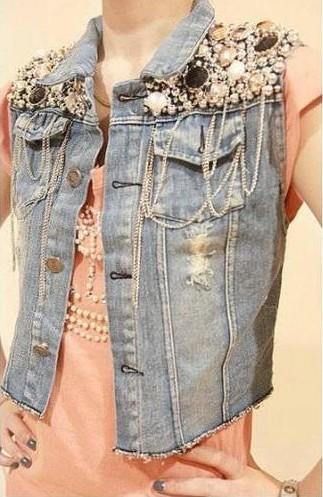 New Womens Sequin Bead Chain Denim Sleeveless Waist Jacket Outerwear Jean Vest