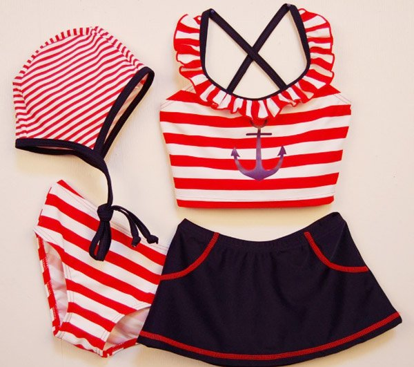Newest Stripe girls swimwear, baby swimwear,children beachwear with cap 10sets/lot free shipping