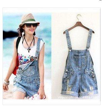 Newest women's blue rompers, denim shorts,free shipping, denim jumpsuit shorts,S M L accept drop-shipping  305-8856