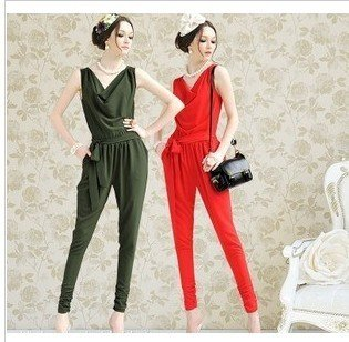 Newest women's  rompers , pencil skinny  jumpsuit , red, green,free shipping, S M L XL skinny  rompers accept drop-shipping