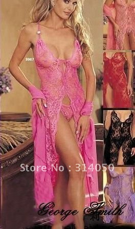 NG008 Free shipping!Sexy lingeries,Sexy long  full lace lingeries dress underwear,Women Intimate Sleepwear Nightwear