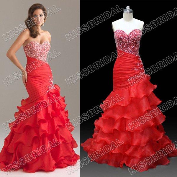 No risk Shopping 2012 Hot Sale Spaghetti Strap Crystal and Bead  Mermaid Organza Prom Dress