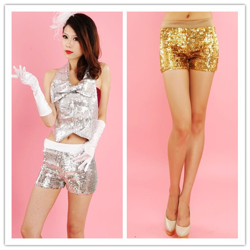 Novelty Stage Clothing Sequins paillette Shorts Elastic Bag Hip Shine Short Pants free shipping