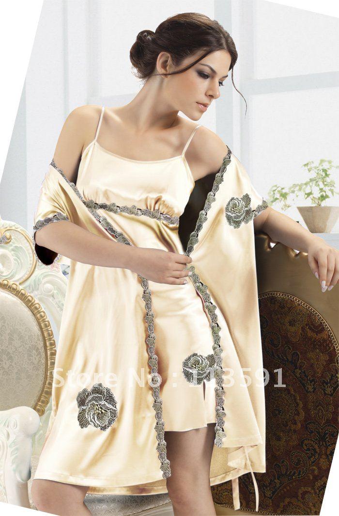 NWT romantic spaghetti strap silk slip women's sexy 2 piece wrap pajamas light blonde embroidery night sleep gown robe sets 2022