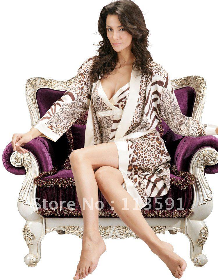 NWT spaghetti ribbon silk women's sexy 2 piece wrap pajama sets intimate animal Leopard night sleep gown robe set promo 5026