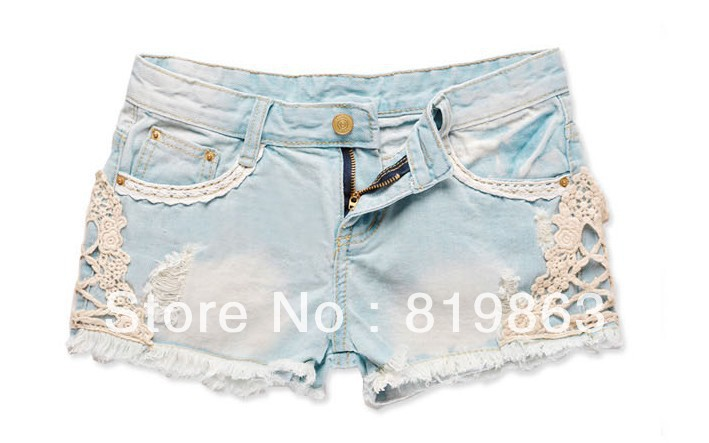 of the new 2013 spring summer female hole in lace denim shorts loose casual shorts   #01