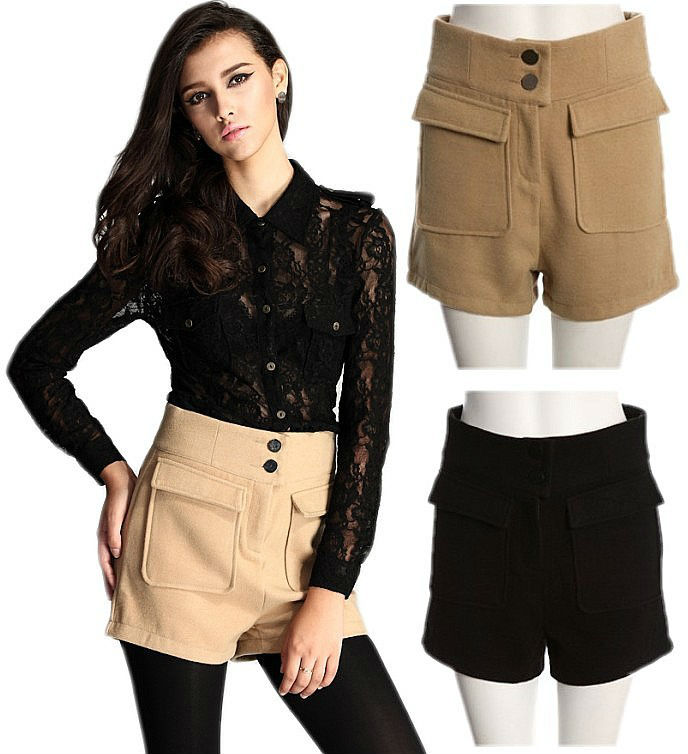 Office Ladies VTG High Waisted Slim Fit Wool Trousers Short Pants Casual Shorts Free Shipping Wholesale
