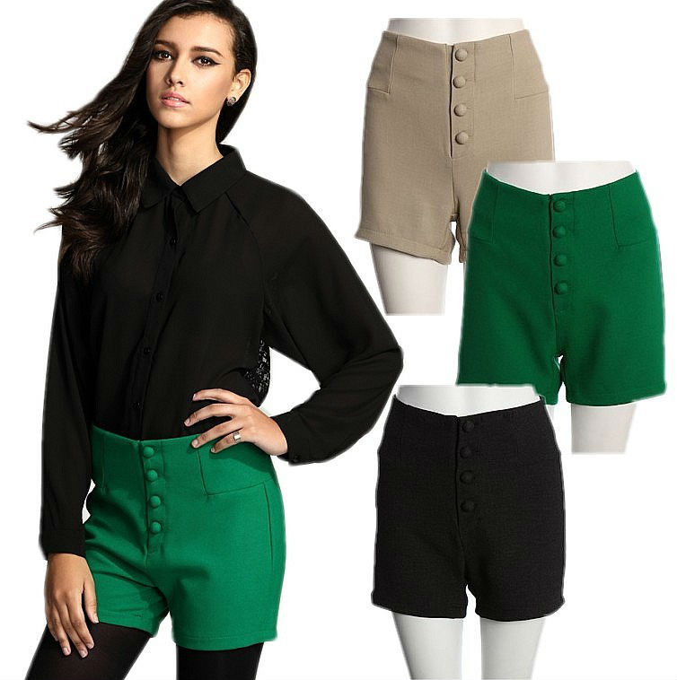 OL Women Vintage Pinup High Waisted Slim Fit Formal Casual Shorts Pants Trousers Free Shipping Wholesale