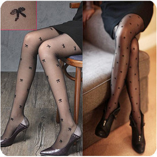 on sale free shipping Core-spun Yarn bow pattern jacquard pantyhose stockings black sexy stockings