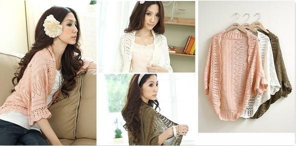 On sale!! New Hot New Fashion Korea Women Hollow Sweater Shawl Shrug Jacket Knitwear Cardigan Pink/White/Black/Coffee/Gray/Beige