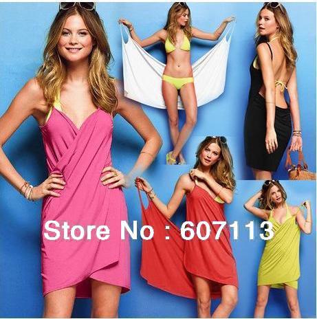 Open-Back Front Swimsuits Summer deep V-neck Swimwear sun crossing one pcs skirt Bikini Wrap beach dress sarong cover ups Criss