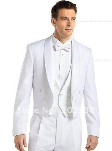Open jacket Center vented Versini White Tailcoat Tuxedo