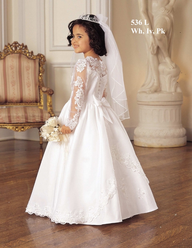 Original A-line Appliques Full Sleeves Tulle First Communion Dress With Cute Bowkont At The Back
