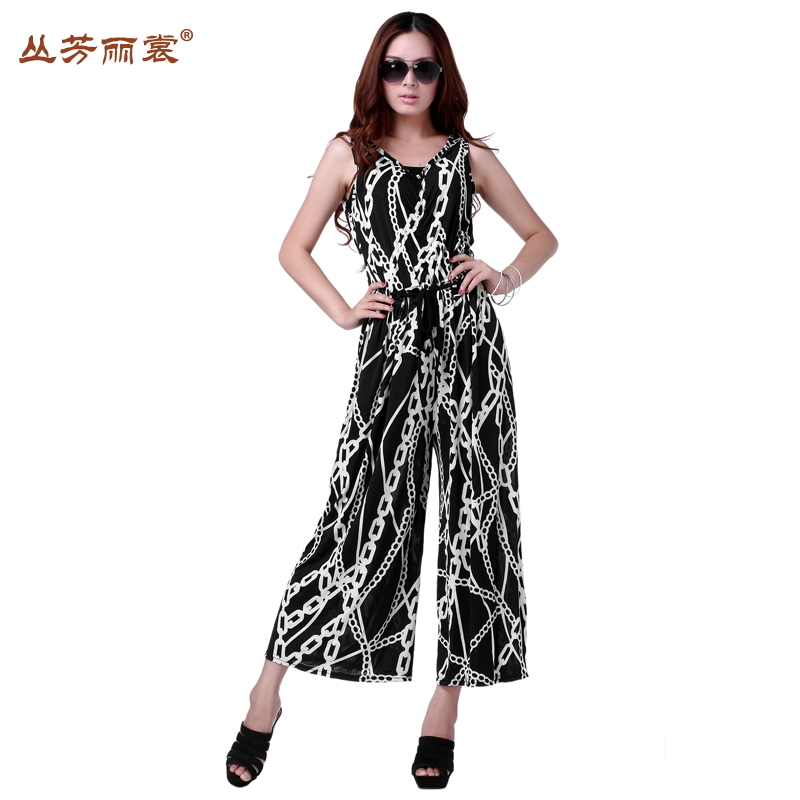 OUT STOCK FREE SHIPPING FH-040 Women Vintage Black White Chain Stripe Loose Vest Jumpsuit Overalls Casual Pants PLUS SIZE