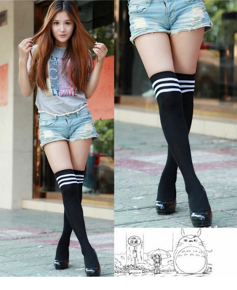 Over The Knee Socks Thigh High Cotton Stockings Thinner 9 Colors for Selection