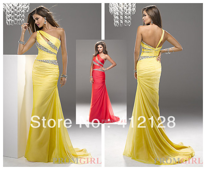 P4717 New Style One shoulder Sheath Yellow Chiffon Prom Dresses Nature Waist Pleat Beaded Floor Length for Party Time