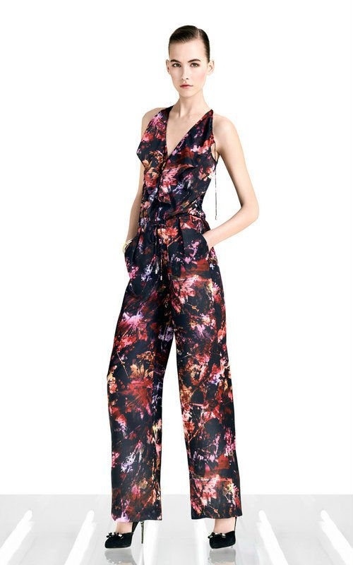 Paint splash floral print full length wide leg jumpsuit with front frill PN127 brand name 2012 new arrival free shipping