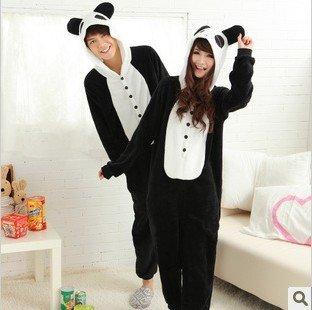 Panda hooded coral fleece winter cute cartoon animals conjoined twin pajamas