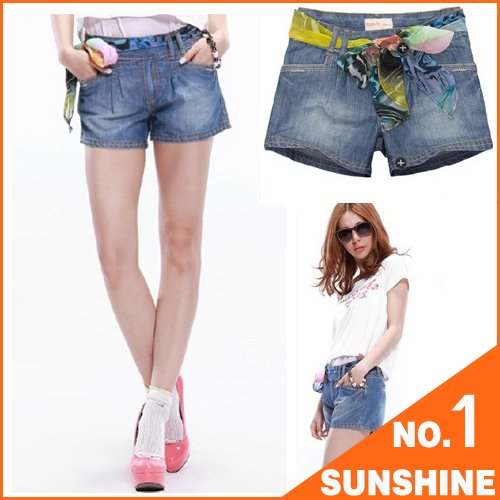 PEACEBIRD, ladies shorts, New Arrivals, jeans ,flower-printing, Free Shipping, DK01
