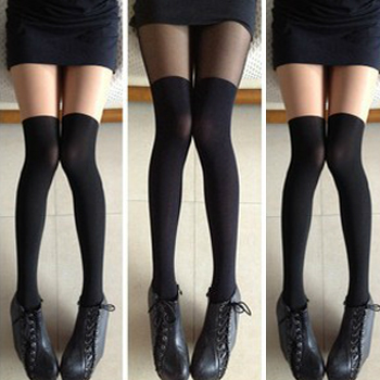Perfect patchwork knee-high pantyhose stockings over-the-knee socks silk stockings