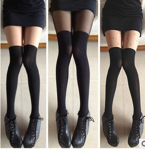 Perfect patchwork thigh socks pantyhose stockings stocking over-the-knee socks female