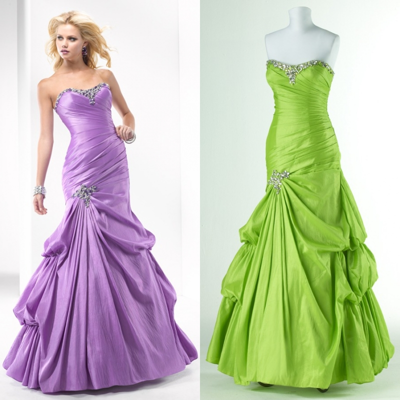 Performance formal dress prom evening dress green dress tube top beading formal dress he131