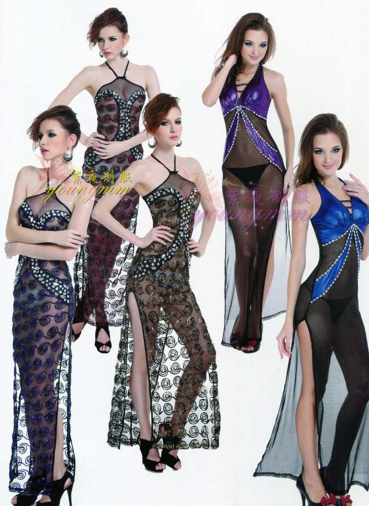 Perspective sexy full dress evening dress long design slim one-piece dress ktv princess clothes